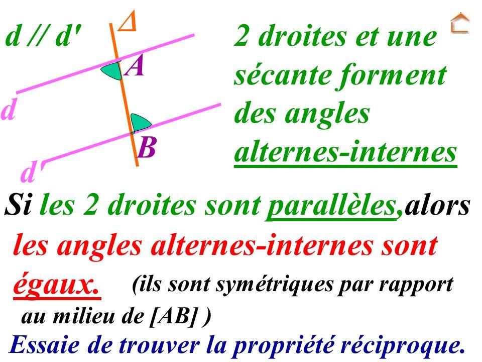 Si les 2 droites sont parallèles,alors les angles alternes-internes sont égaux. Essaie de trouver la propriété réciproque. A B d d' d // d' au milieu