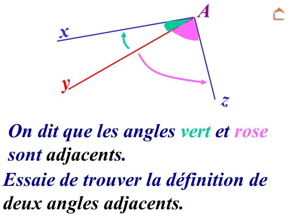 z y x On dit que les angles vert et rose sont adjacents. A Essaie de trouver la définition de deux angles adjacents.