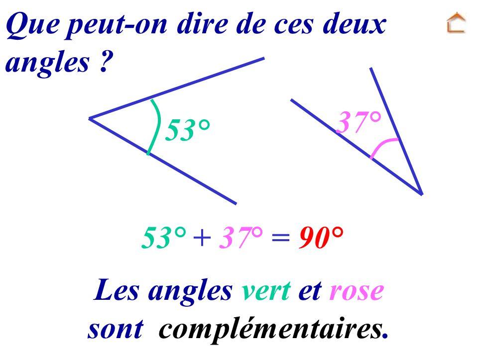 37° 53° Que peut-on dire de ces deux angles ? 53° + 37° = 90° Les angles vert et rose sont complémentaires.