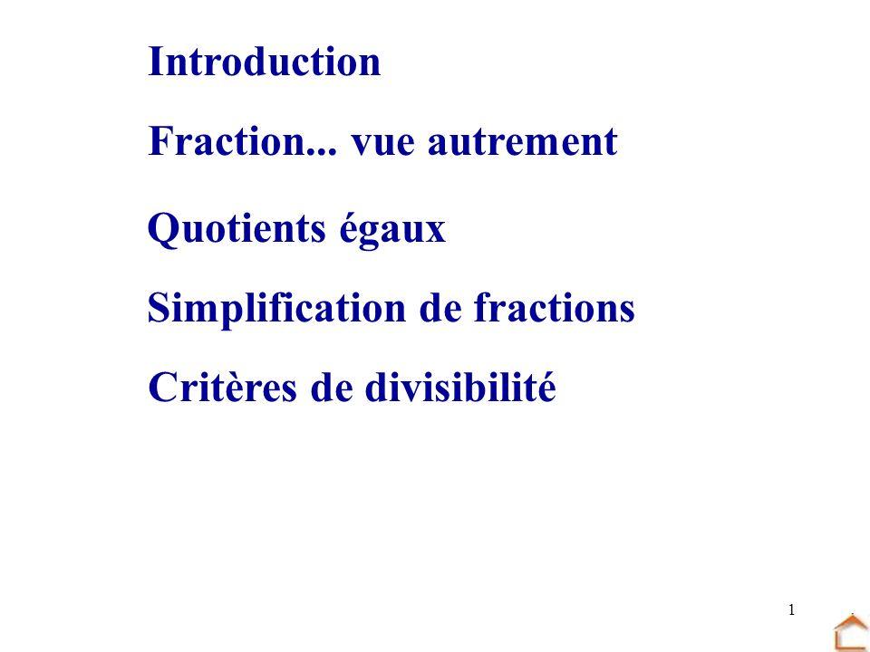 1 Fraction... vue autrement Quotients égaux Critères de divisibilité Simplification de fractions Introduction