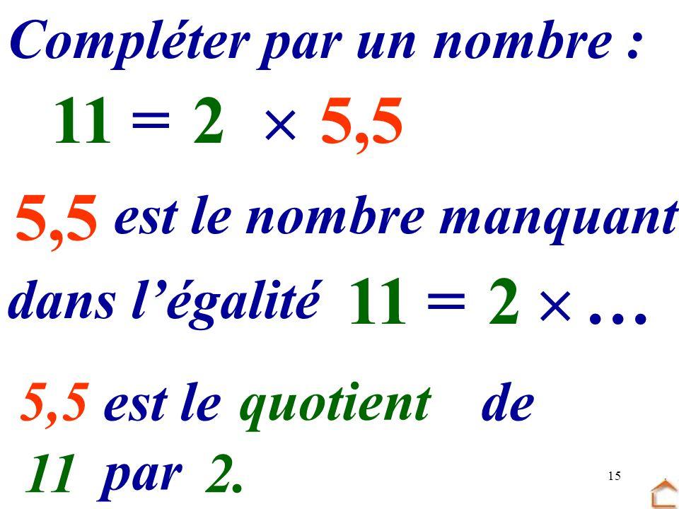 15 5,5 Compléter par un nombre : 2 …=115,5 dans légalité est le nombre manquant 2 =11… 5,5 est le …… de … par … quotient 112.