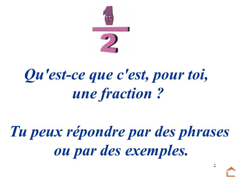 2 Qu'est-ce que c'est, pour toi, une fraction ? Tu peux répondre par des phrases ou par des exemples.