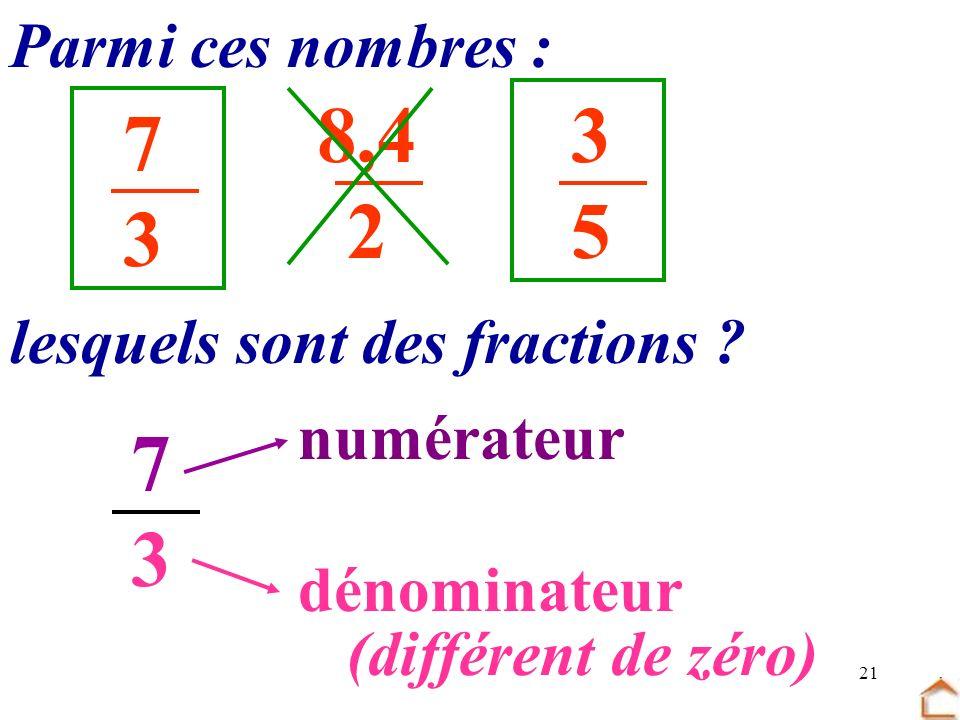 21 Parmi ces nombres : 7373 3535 8,4 2 lesquels sont des fractions ? 7373 numérateur dénominateur (différent de zéro)
