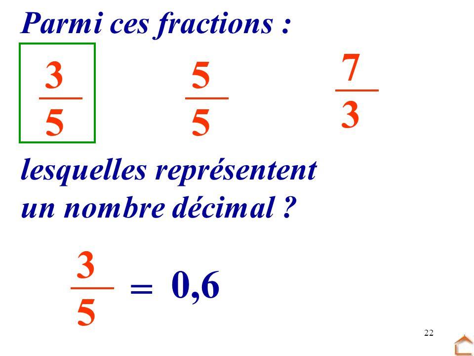 22 3535 5555 7373 Parmi ces fractions : lesquelles représentent un nombre décimal ? 3535 = 0,6