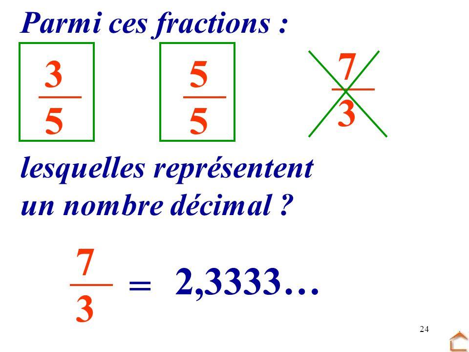 24 3535 5555 7373 Parmi ces fractions : lesquelles représentent un nombre décimal ? 7373 = 2,3333…