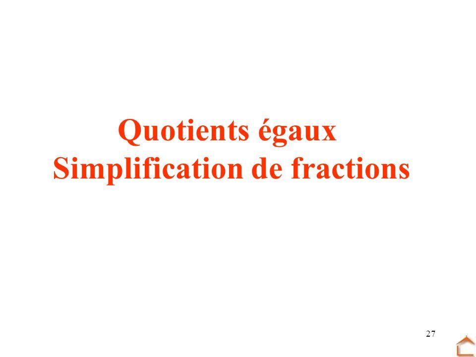 27 Quotients égaux Simplification de fractions