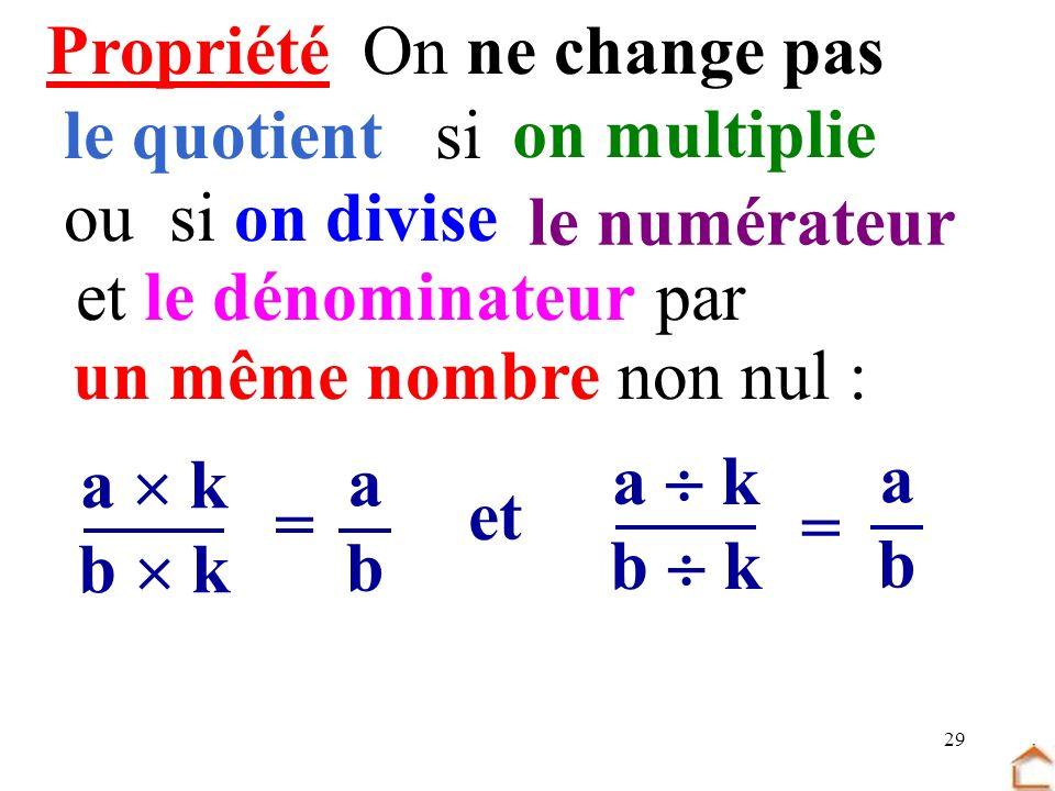 29 PropriétéOn ne change pas le quotient si a k b k = abab et = a k b k abab on multiplie ousi on divise le numérateur etle dénominateurpar un même no