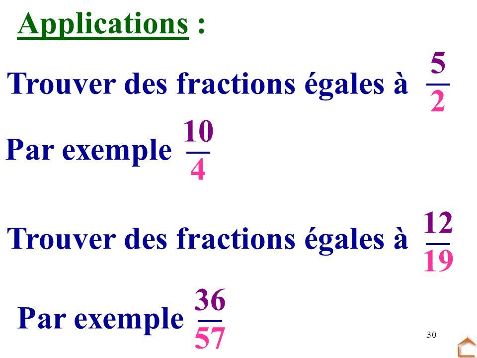 30 Trouver des fractions égales à 5252 Par exemple 10 4 Trouver des fractions égales à 12 19 Par exemple 36 57 Applications :