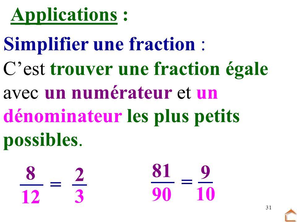 31 Applications : Cest trouver une fraction égale avec un numérateur et un dénominateur les plus petits possibles. 8 12 = 81 90 = 9 10 2 3 Simplifier