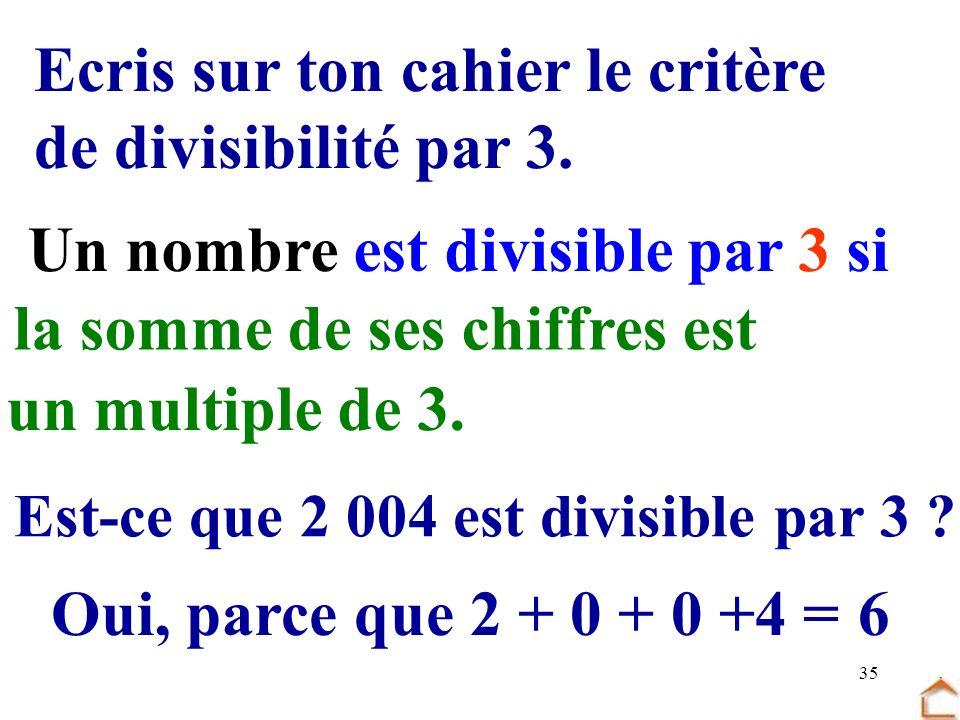 35 Ecris sur ton cahier le critère de divisibilité par 3. Un nombre est divisible par 3 si la somme de ses chiffres est un multiple de 3. Est-ce que 2