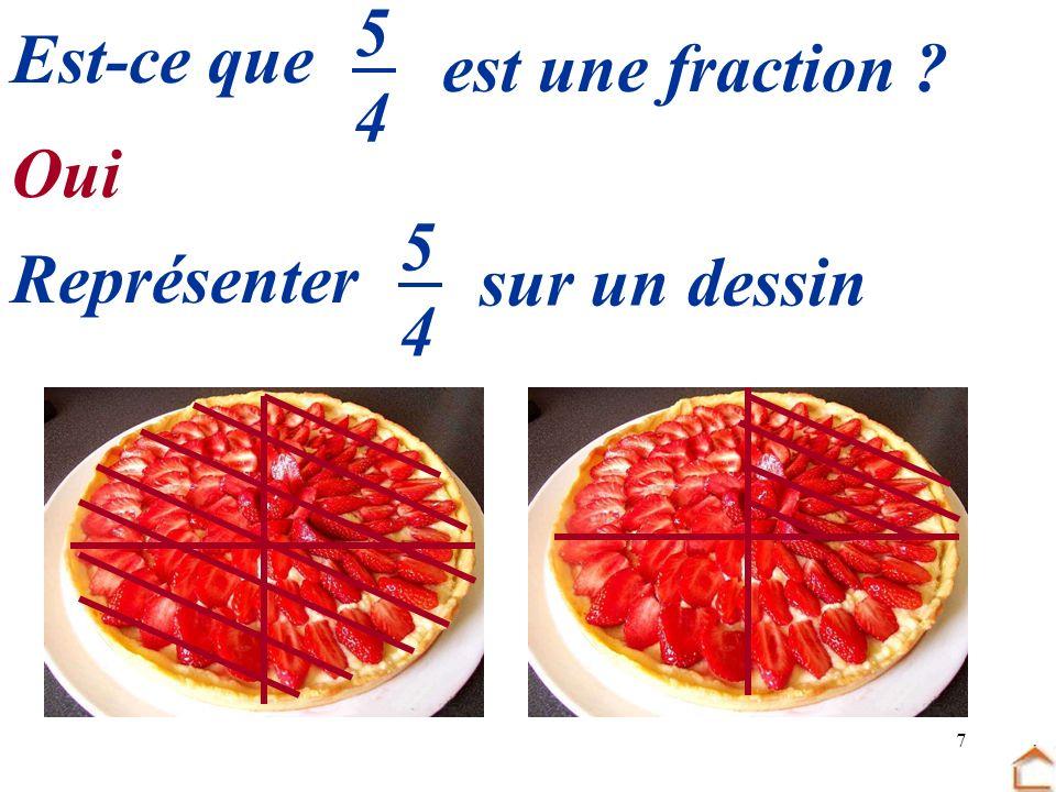 7 Est-ce que est une fraction ? 5454 5454 Représenter sur un dessin Oui