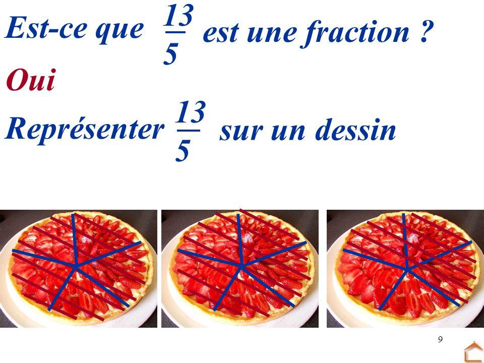 9 Est-ce que est une fraction ? 13 5 13 5 Représenter sur un dessin Oui