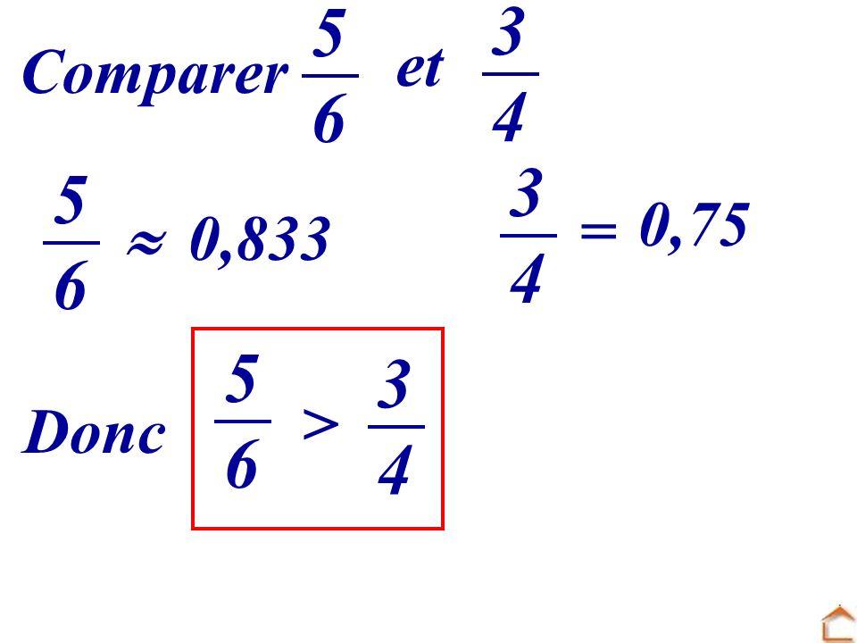 Comparer 5656 et 3434 Donc > 3434 5656 0,833 3434 = 0,75 5656