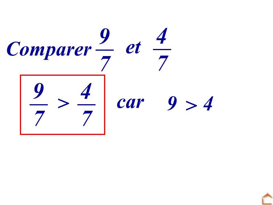 Comparer 9797 et 4747 4747 9797 > car 9 > 4