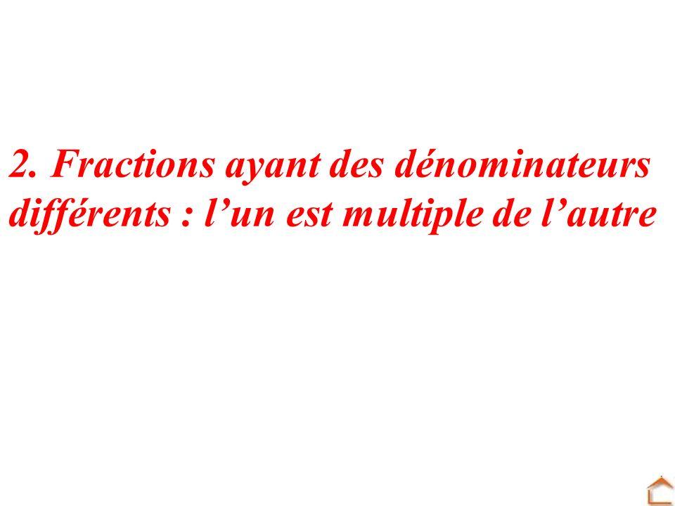 2. Fractions ayant des dénominateurs différents : lun est multiple de lautre