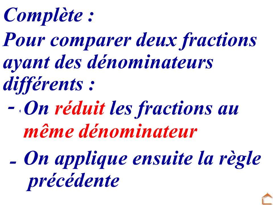 Complète : Pour comparer deux fractions ayant des dénominateurs différents : -............................................ On réduit les fractions au