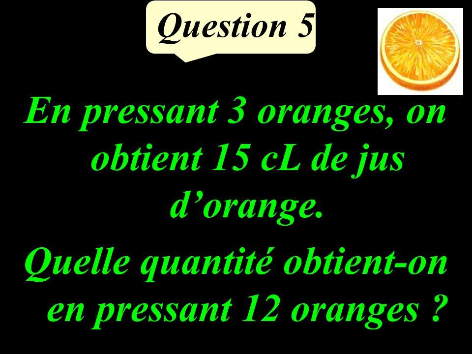 Question 5 En pressant 3 oranges, on obtient 15 cL de jus dorange.