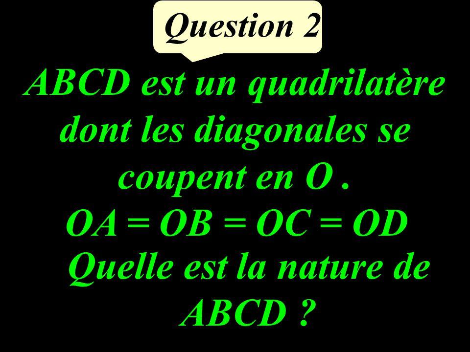 Question 2 ABCD est un quadrilatère dont les diagonales se coupent en O.