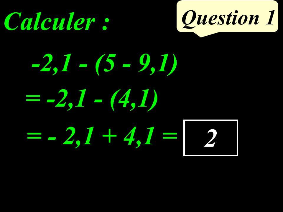 -2,1 - (5 - 9,1) Question 1 2 = -2,1 - (4,1) Calculer : = - 2,1 + 4,1 =