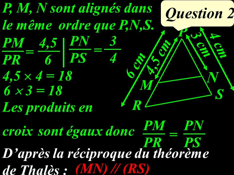 P, M, N sont alignés dans le même ordre que P,N,S.