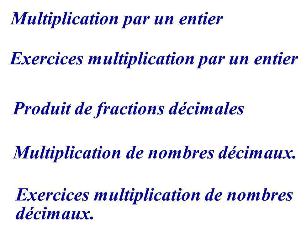 Multiplication par un entier Exercices multiplication par un entier Multiplication de nombres décimaux. Produit de fractions décimales Exercices multi