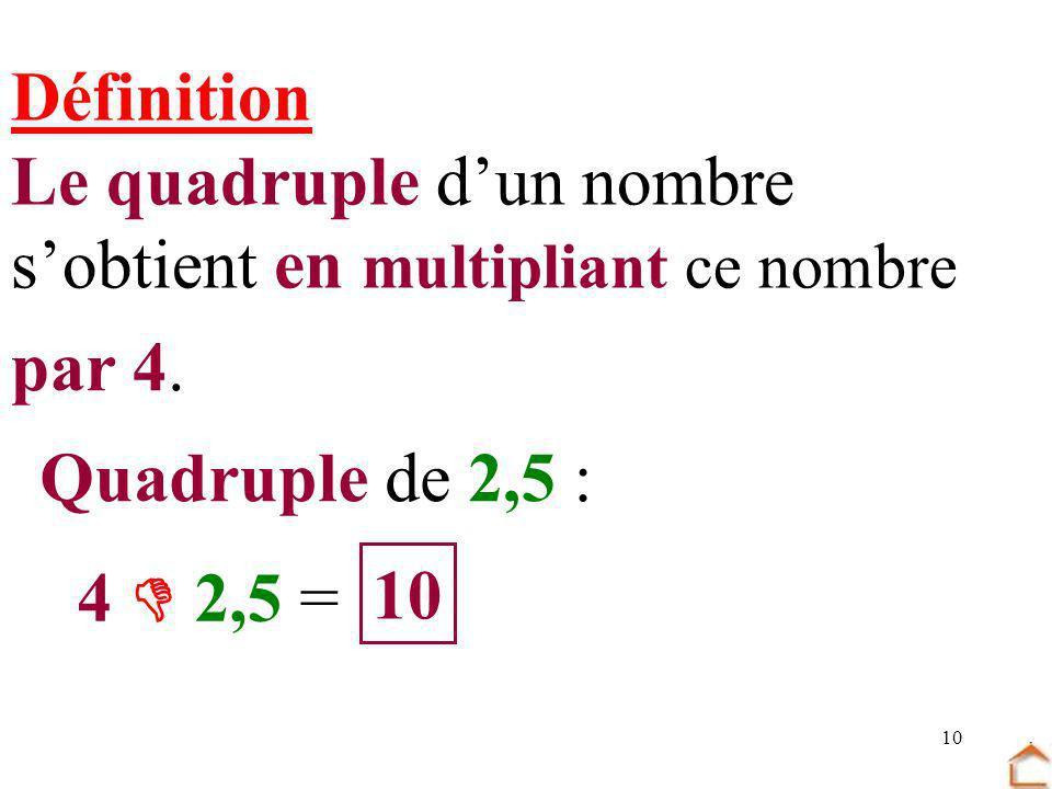 10 Définition Le quadruple dun nombre sobtient en multipliant ce nombre par 4. Quadruple de 2,5 : 4 2,5 = 10
