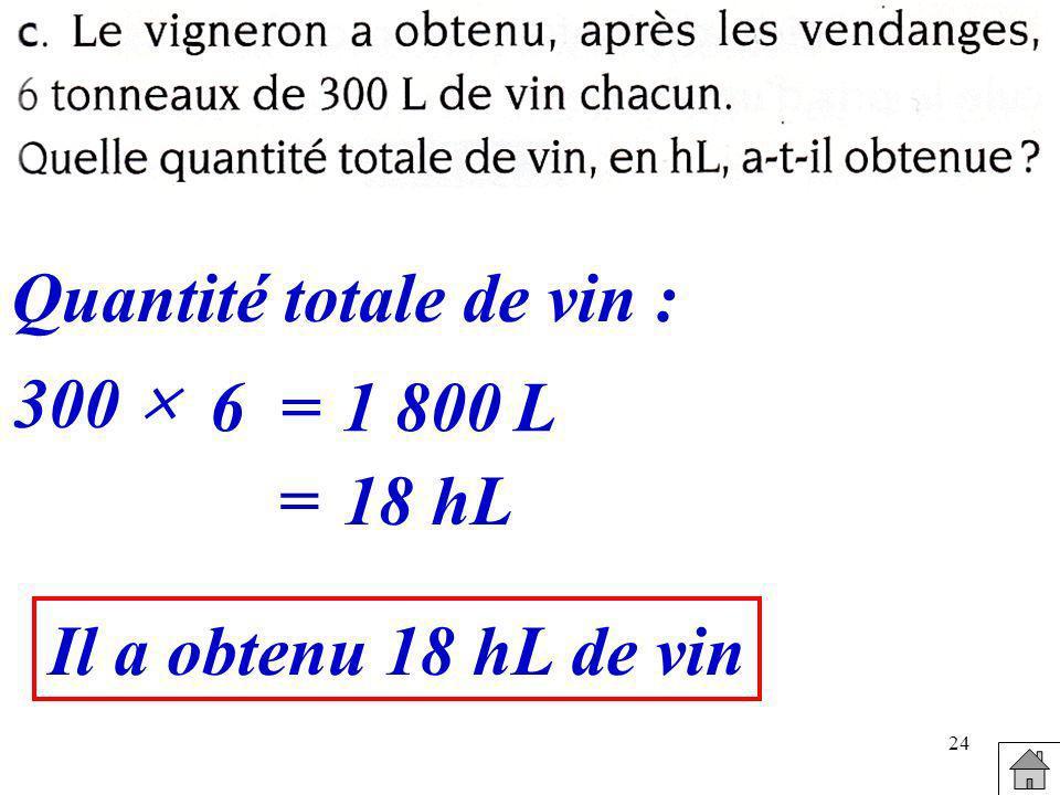 24 300 6=1 800L =18 hL Quantité totale de vin : Il a obtenu 18 hL de vin