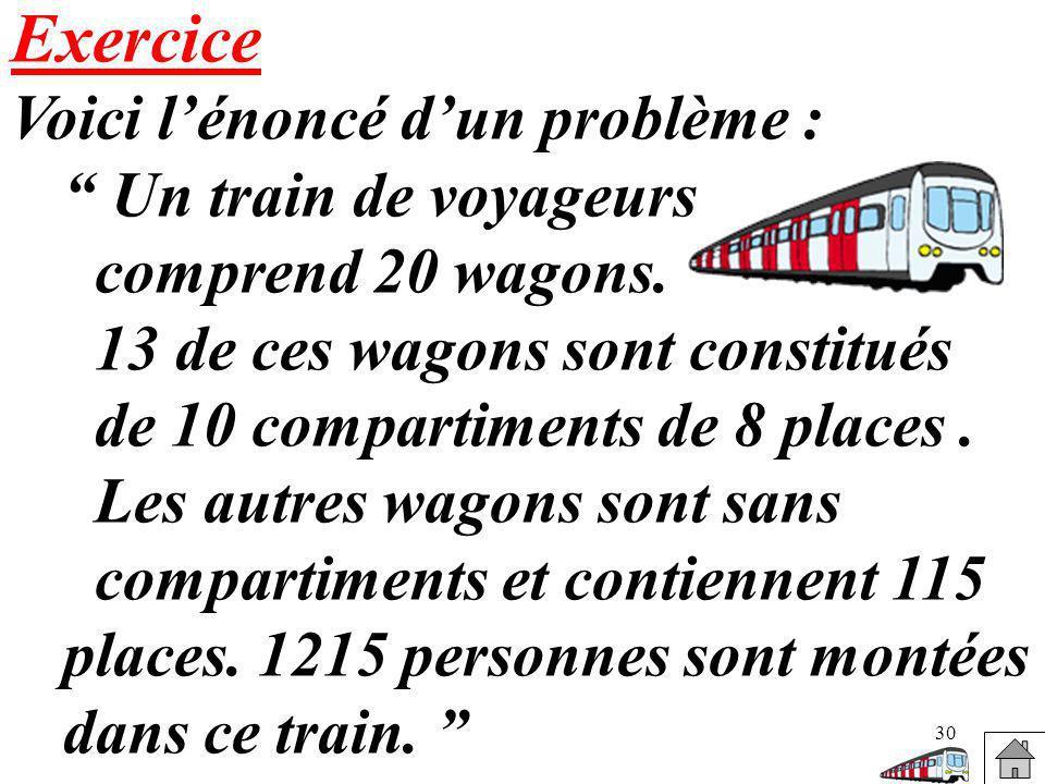 30 Exercice Voici lénoncé dun problème : Un train de voyageurs comprend 20 wagons. 13 de ces wagons sont constitués de 10 compartiments de 8 places. L