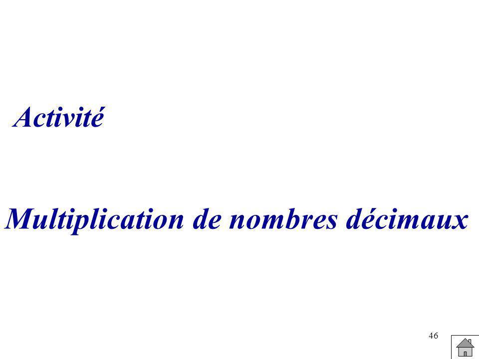 46 Multiplication de nombres décimaux Activité