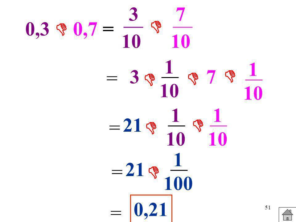 51 0,3 0,7 = 3 10 7 10 = 3 1 10 7 1 10 = 21 1 10 1 10 = 21 1 100 = 0,21