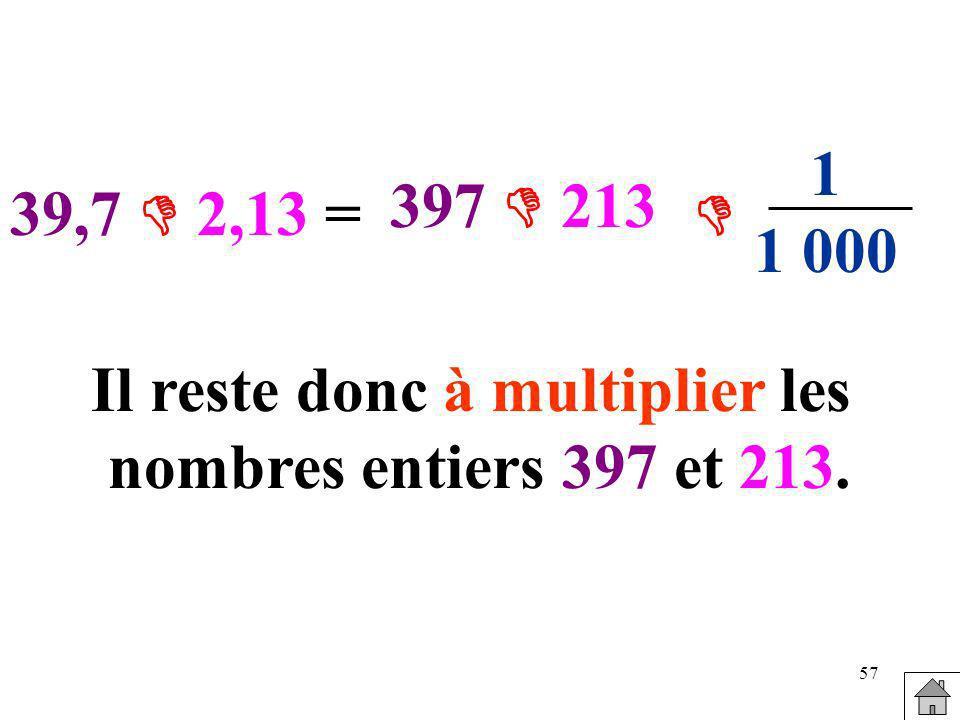 57 39,7 2,13 = 397 213 1 1 000 Il reste donc à multiplier les nombres entiers 397 et 213.