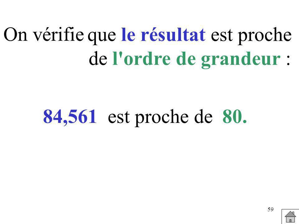 59 On vérifie 84,561est proche de80. que le résultat est proche de l'ordre de grandeur :