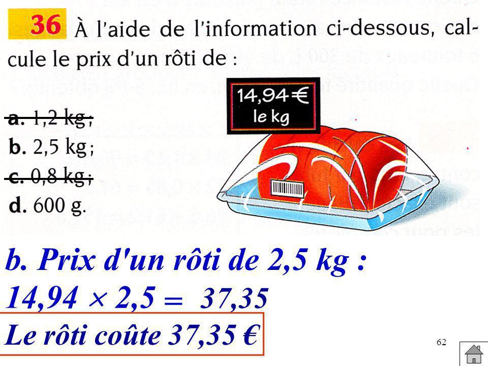62 b.Prix d'un rôti de 2,5 kg : 14,94 2,5 = 37,35 Le rôti coûte 37,35