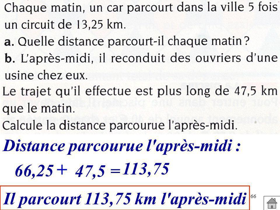 66 Distance parcourue l'après-midi : 66,25 + 47,5= 113,75 Il parcourt 113,75 km l'après-midi
