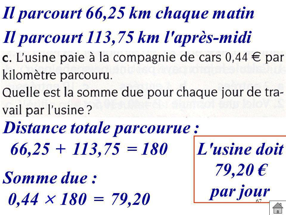 67 Il parcourt 66,25 km chaque matin Il parcourt 113,75 km l'après-midi Distance totale parcourue : 66,25+113,75=180 Somme due : 0,44 180=79,20 L'usin