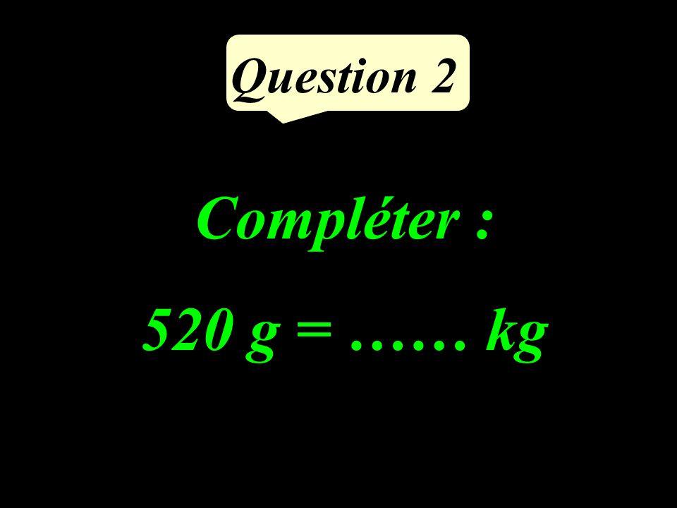 Question 2 Compléter : 520 g = …… kg