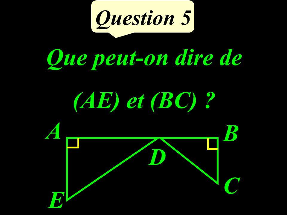 Question 5 Que peut-on dire de (AE) et (BC) ? A B C D E
