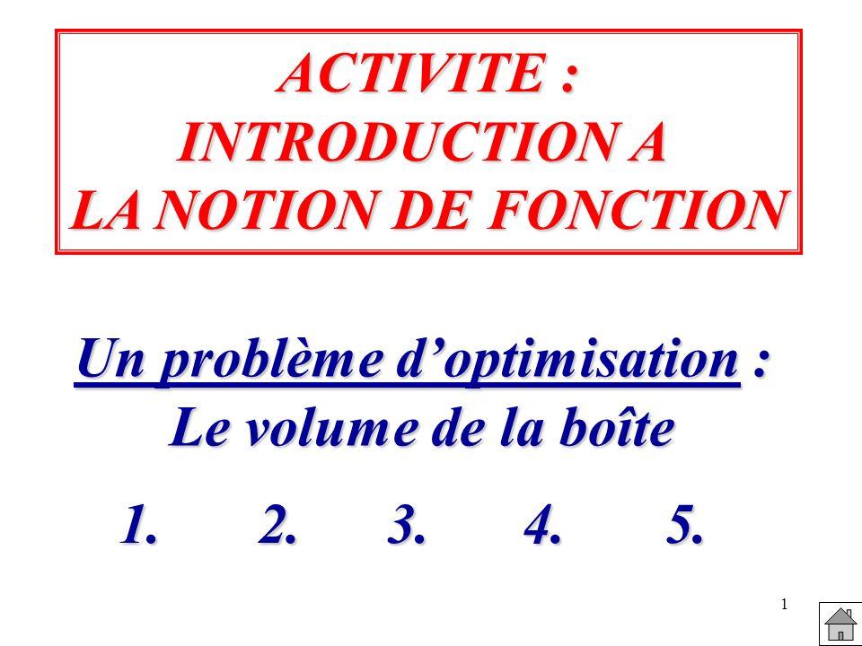 1 ACTIVITE : INTRODUCTION A LA NOTION DE FONCTION Un problème doptimisation : Le volume de la boîte 1.
