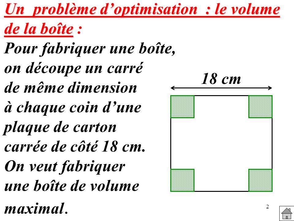 2 Un problème doptimisation : le volume de la boîte Un problème doptimisation : le volume de la boîte : Pour fabriquer une boîte, on découpe un carré de même dimension à chaque coin dune plaque de carton carrée de côté 18 cm.