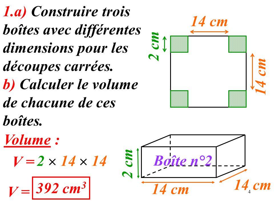 4 14 cm 1.a) Construire trois boîtes avec différentes dimensions pour les découpes carrées.