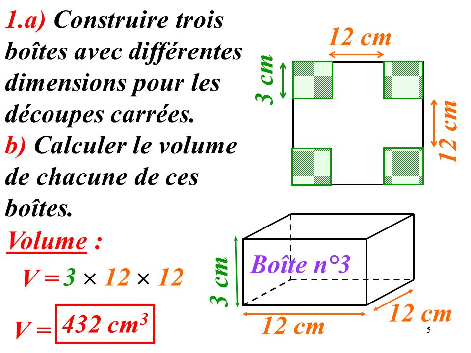 6 2.On appelle x le côté de la découpe carrée.