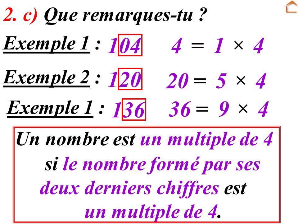 Un nombre est un multiple de 4 si le nombre formé par ses deux derniers chiffres est un multiple de 4. 2. c) Que remarques-tu ? Exemple 1 : 1044=1 4 E