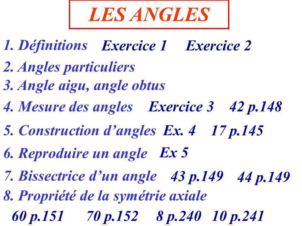 Tracer un angle sur votre cahier Ce sont des C est un les côtés de l angle le sommet de l angle point : demi droites : Donner un nom au sommet et aux demi-droites O x y