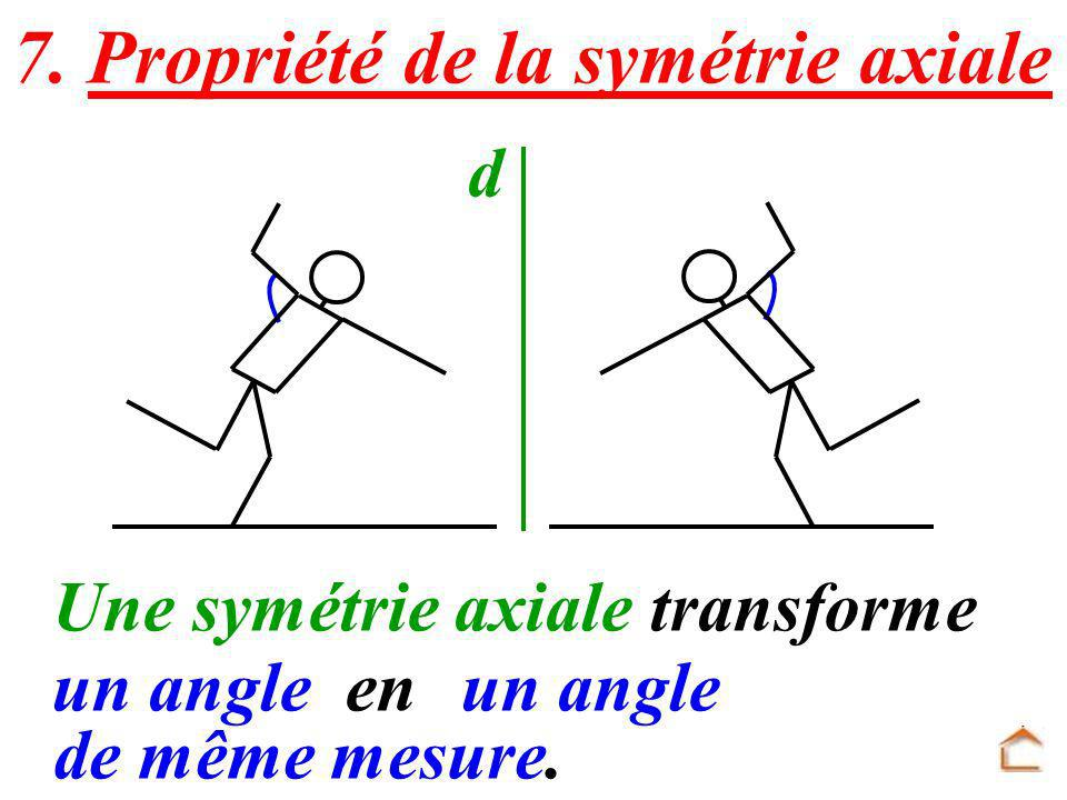 d Une symétrie axiale transforme un angleenun angle de même mesure. 7. Propriété de la symétrie axiale
