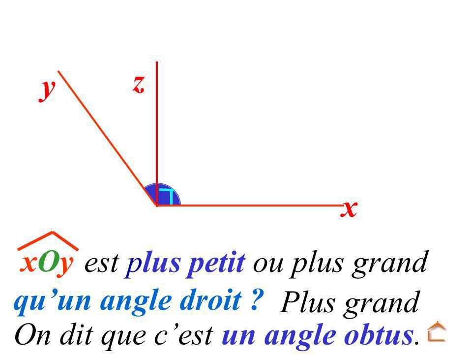 y On dit que cest un angle obtus. xOyxOy est plus petit ou plus grand quun angle droit ? Plus grand z x