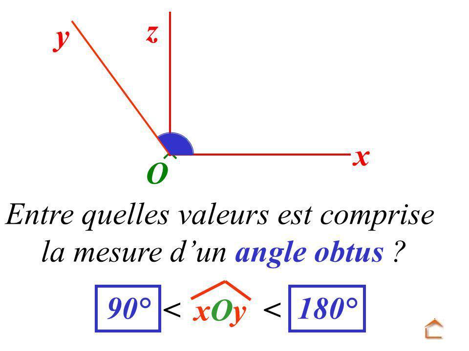 y z x O xOyxOy Entre quelles valeurs est comprise la mesure d un angle obtus ? << 90°180°