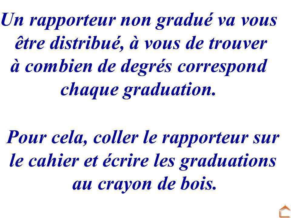 Un rapporteur non gradué va vous être distribué, à vous de trouver à combien de degrés correspond chaque graduation. Pour cela, coller le rapporteur s