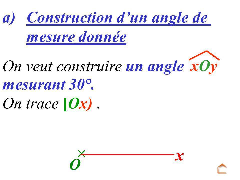 On veut construire un angle mesurant 30°. a) Construction dun angle de mesure donnée xOyxOy x O On trace [Ox).