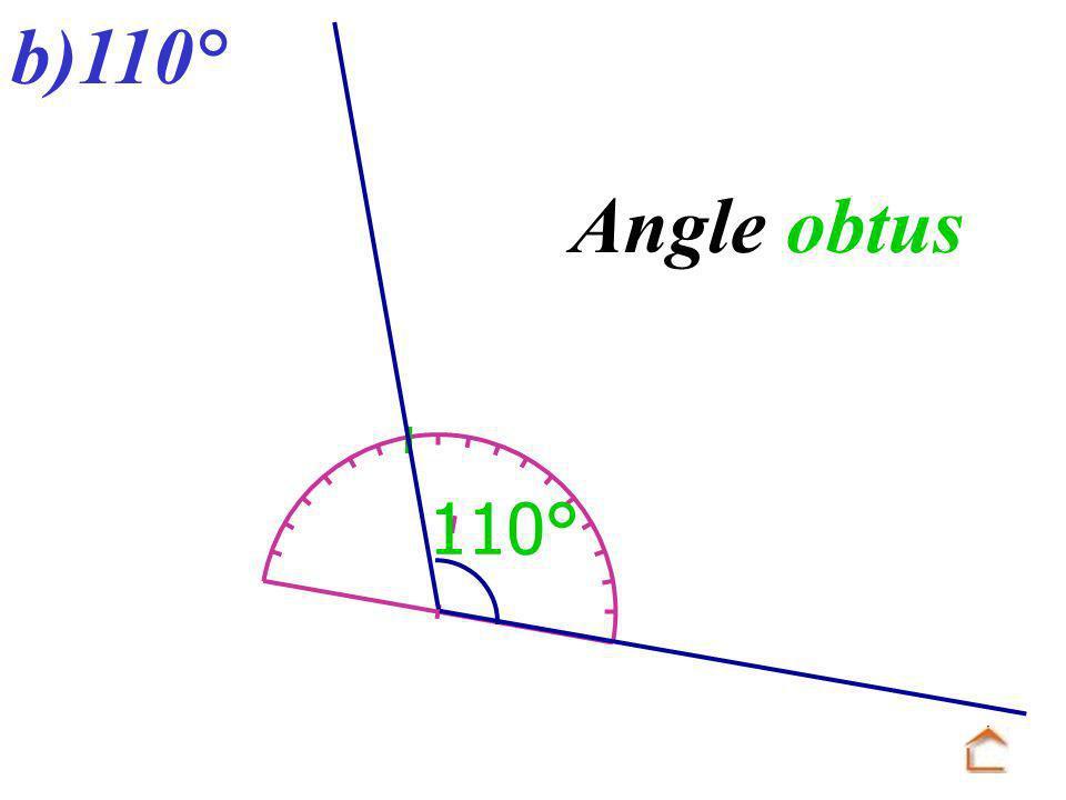 b)110° 110° Angle obtus