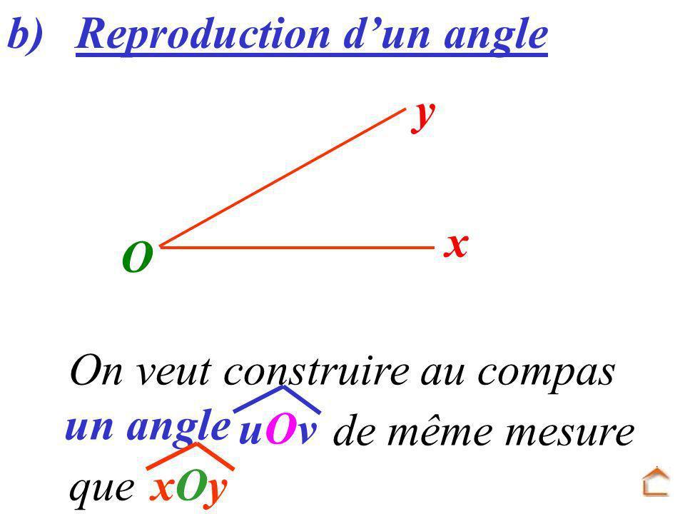 On veut construire au compas un angle b) Reproduction dun angle uOvuOv O x y xOyxOy de même mesure que